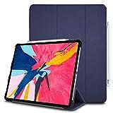 TECHGEAR® Smart Coque pour iPad Pro 12.9 2018, [Compatible Apple Pencil] Coque Smart Case Stand Trois-Pli avec Protection d'Angles [Auto Réveil/Sommeil] pour Apple iPad Pro 12.9 Pouces 2018 - Bleu