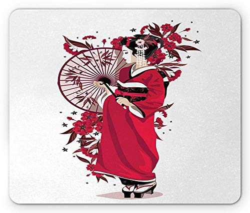 Asian Lady in Kimono with Flowers and Umbrella Traditional Clothes Art, Standard Size Rectangle Non-Slip Rubber Mousepad, Pink Fuchsia White ()