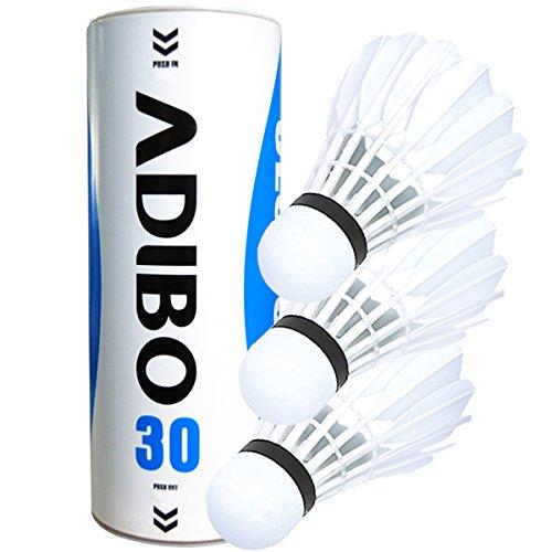 Federbälle, Adibo 3 Stück Badmintonball Shuttlecock Weiß Feder Schaumstoff für Outdoor en Indoor Sportsaktivitäten