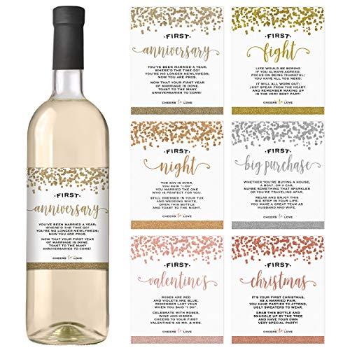 en für eine Hochzeit Set von 6| Bridal Dusche Verlobungsring uns | Hochzeit Meilensteine | Hochzeit Wein Firsts Etiketten ()