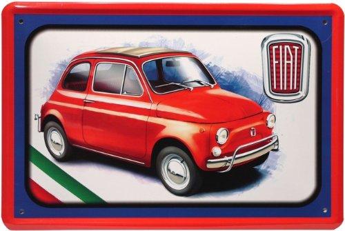 Blechschild 20x30 cm Fiat 500 Italien Youngtimer Kult Auto Garage Werkstatt Metall Schild