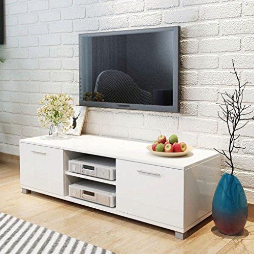 Lingjiushopping Meuble TV Blanc Laqué Brillant 120 x 40,3 x 34,7 cm Couleur : Blanc Brillant matériau : Panneau MDF (Panneau en Fibre à Moyenne Densit ¨ ¤)