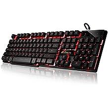Moobom DB-A8 meccanica tatto Gaming Keyboard, 3 colori retroilluminato a LED via cavo USB della tastiera di gioco Nero