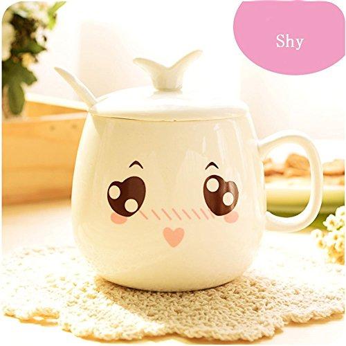 Keramik Tasse, Cozyswan Kaffeetasse Teetasse Becher Ceramic Mug mit Deckel und 1 Löffel (shy)