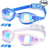 Swim Goggles, Pack of 2, Swimming Glasses for Adult Men Women Youth Kids Child, Anti-Fog, Waterproof, UV Protection Made by COOLOO