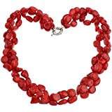 """TreasureBay Chunky Red Coral Beaded Necklace 55cm/22"""" - Presented in a Beautiful jewellery Gift Box"""