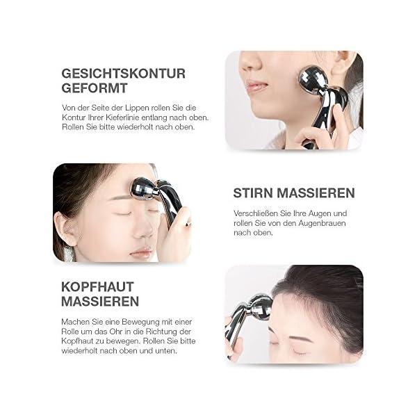 3d Gesicht Roller Massage Multifun Gesichtsroller Mit Mikrostrom Dermaroller Ohne Batterie Gesicht Massagegert Massageroller Fr Gesicht Krper Brust Rcken Arme Taille Bein Hals