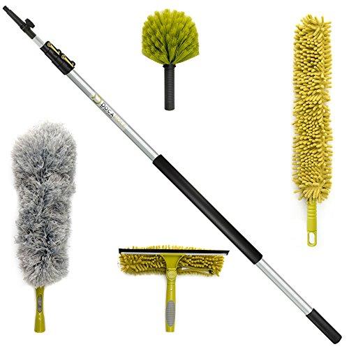 Kit de limpieza DocaPole con palo telescópico 3,65 metros // Incluye 3 adaptadores de polvo + 1 espátula...