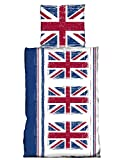 one-home 4 tlg Bettwäsche 135 x 200 cm England Flagge English Union Jack Vintage Retro rot blau Microfaser 2 Garnituren