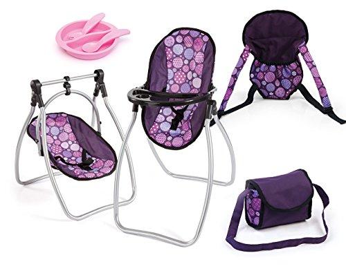 *Bayer Design 63694AB – Zubehör-Set mit Sitz, Tragegurt, Tasche und Essgeschirr Pflaume – für Puppen bis ca. 46 cm*