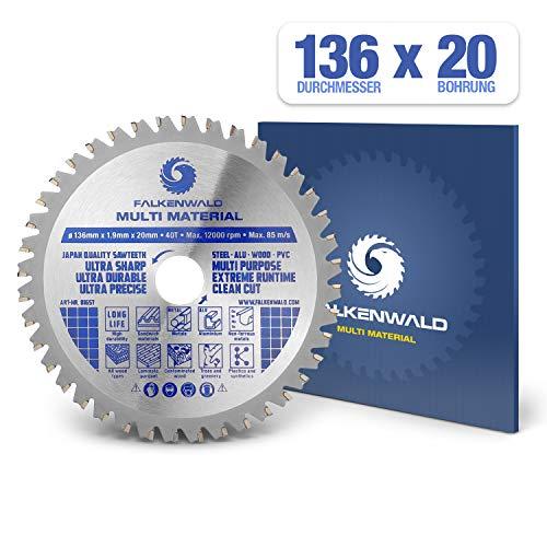 FALKENWALD ® Kreissägeblatt 136 x 20 mm - Ideal für Holz, Metall & Alu - Handkreissägeblatt kompatibel mit Tauchsäge & Kreissäge von Bosch & Makita - Universal Sägeblatt aus hochwertigem Hartmetall