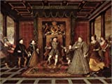 Canvas print 160 x 120 cm: The Family of Henry VIII: An Allegory of the Tudor Succession by Lucas de Heere / Bridgeman Images - ready-to-hang wall picture, stretched on canvas frame, printed image ...