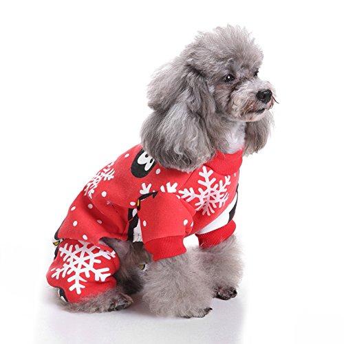 Sukisuki Weicher Schlafanzug für Hunde und Katzen, mit niedlichem Pinguin-Muster, Weihnachts-Schlafanzug, Haustier, Kostüm, - Großer Hunde Pinguin Kostüm