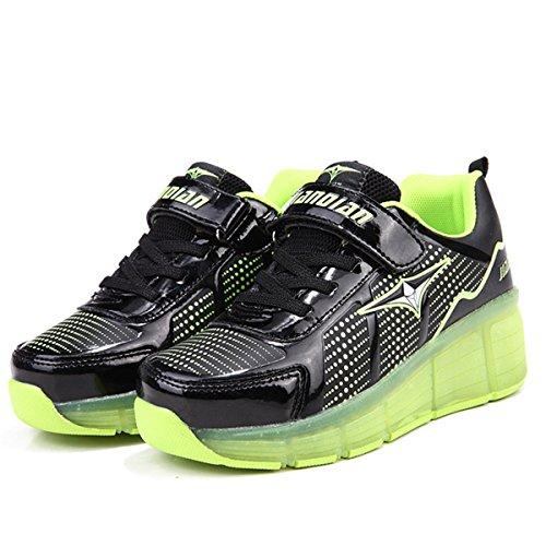 SGoodshoes Homme Femme LED Chaussures à roulettes Patins Garçon Sneakers Clignotant Sport Chaussures Patins Enfants Fille Garçon Noir