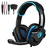 SADES SA-708GT Auriculares para juegos PS4 PlayStation 4 Auriculares PS4 con micrófono para PlayStation4 PS4 Nueva Xbox One PC con control de volumen (azul)