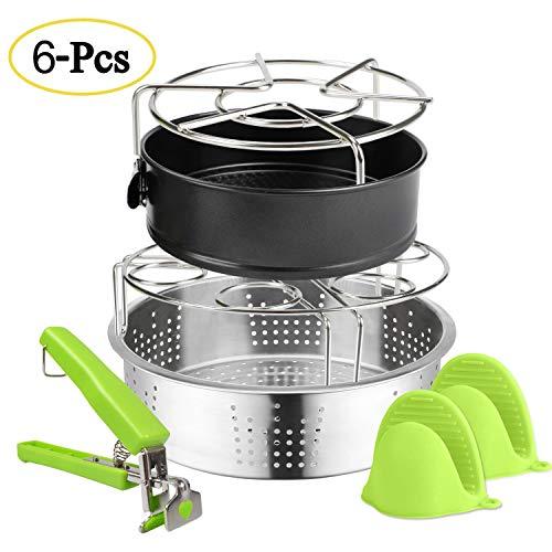 51bIzC5rjOL. SS500  - EXPOWER Electric Pressure Cooker Accessories, Include Steamer Basket/Vegetable Steamer Basket, Steamer Rack, Silicone Pot Holder, Egg Steamer Rack, Non-Stick Springform Pan, Dish Clip (6 Pcs)
