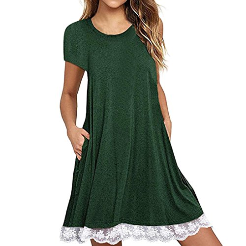 OYSOHE 2018 Women Lace Short Sleeve Above Knee Dress Loose Party Dress by