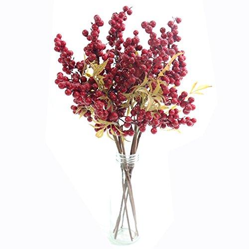 jarown 6PCS Künstliche Weihnachten Beeren Bean Zweige Fake Früchte für Hochzeit Home Dekoration (Herzstück Bilderrahmen)