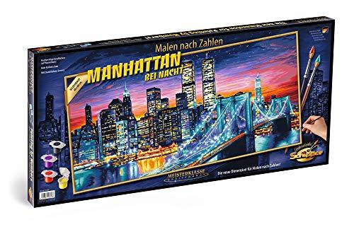 Schipper 609220369 609220369-Malen nach Zahlen-Manhattan bei Nacht, 40x80 cm