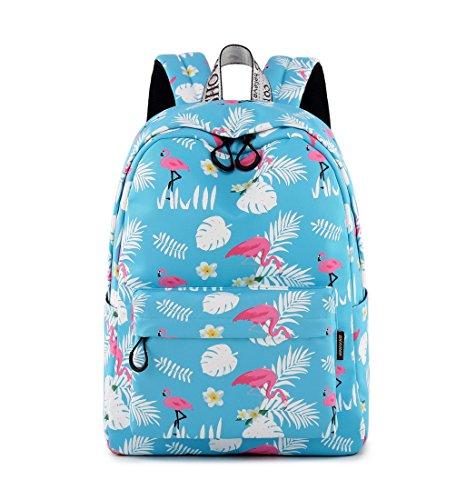 (Joymoze Wasserdicht Süß Schule Rucksack für Jungen und Mädchen Leicht Schick Bedruckt Bücher Tasche (Green Flamingo))