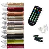 (10er Set AA Batterien) LED Weihnachtsbaumkerzen, Fernbedienung, 1-12 Stunden Timer, Flacker/ Standlicht, Dimmfunktion, 10er/20er Set, warm-weiß, Fenster -Saugnapfhalter. Baumkerzen Weihnachtskerzen