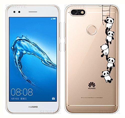 Sunrive Für Huawei Y6 Pro 2017 Hülle Silikon, Transparent Handyhülle Schutzhülle Etui Case Backcover für Huawei Y6 Pro 2017 / P9 Lite Mini(TPU Panda 1)+Gratis Universal Eingabestift