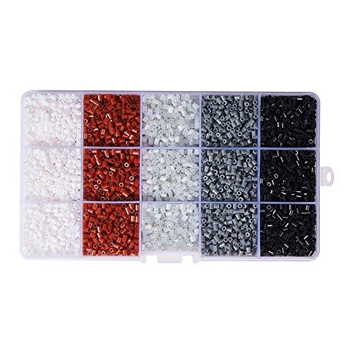 pandahall Elite & reg DIY Tube Sicherung Perlen Kits, mit Kunststoff Perlen Pinzette, quadratische ABC Kunststoff Pegboards und Bügelpapier, Mischfarbe, 3x2.5mm; etwa 7 g/Fach