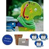 Kinder Schal selber stricken* Strickpaket Kinderloop * in blau aus Merinowolle Merino Extrafine 40 von Schachenmayr + Strickstart Buch von MyOma + GRATIS MyOma Label