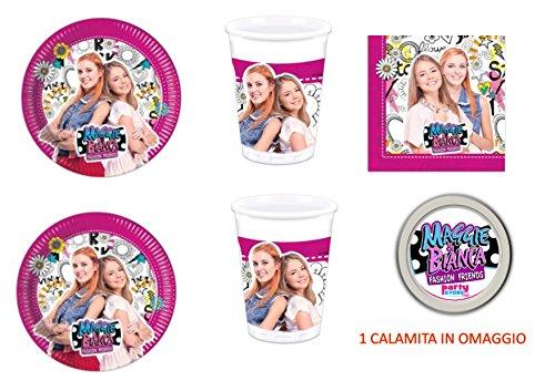 Casa Dolce Casa - Maggie et Bianca - Décorations fête-Kit n° 4CDC (32assiettes, 32gobelets, 40serviettes, 1aimant offert)