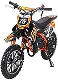 Actionbikes Motors Mini Kinder Crossbike Gepard 49 cc - Scheibenbremsen - Sportluftfilter - Sportauspuff - Luftbereifung (Orange)