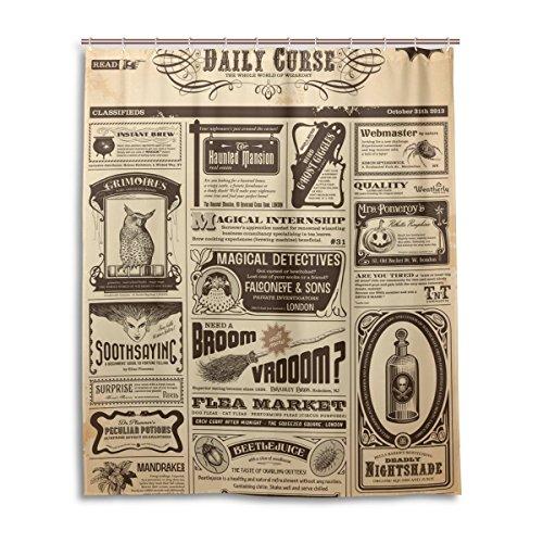Cortina de ducha de baño 60x 72inch, Retro Vintage periódico, tela de poliéster a prueba de moho cortina de baño