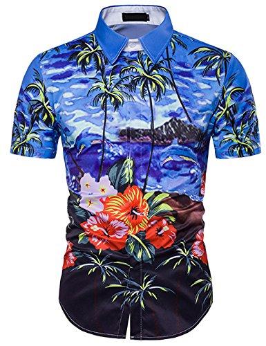 Pinkpum Camisa Hawaiana Manga Corta para Hombre, Diseño de Palmeras y