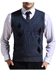 Zicac Gilet sans manches motif losange en tricot homme pour l`automne et l`hiver
