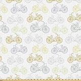 ABAKUHAUS Fahrrad Stoff als Meterware, Pastell Retro