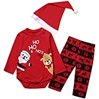 uBabamama Autumn Sale!!! 3PCS Christmas Outfits for Toddler Boys Girls Santa Claus Elk Printed Romper +Cartoon Pants + Lovely Hat(Red,6-12 Months/90)
