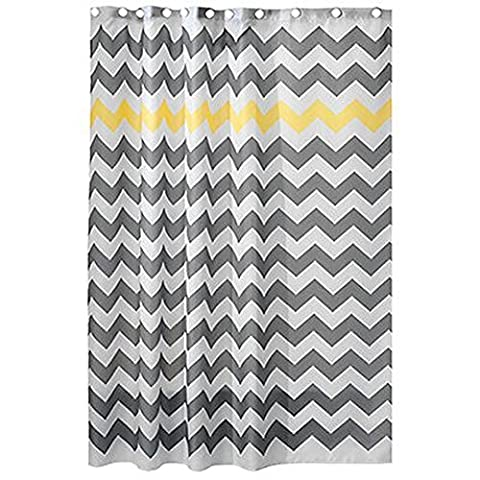 Chevron Rideau de douche, 72x 182,9cm, gris, Polyester, jaune, 72x72