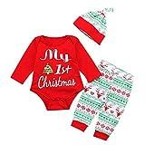 Baby Jungen Mädchen Strampler Set, Baywell Meine 1. Weihnachts-Outfit Set Roten Strampler + Hut + Hose (70/S/0-6 Monate, Rot)