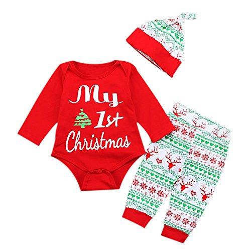 Baywell Baby Jungen Mädchen Strampler Set, 1. Weihnachts-Outfit Set Roten Strampler + Hut + Hose (70/S/0-6 Monate, Rot)