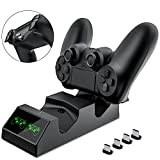 BEBONCOOL PS4 Controller Ladestation, Playstation 4 Controller Dualshock 4 Ladestation mit 4 Micro USB Lade Dongles Ladegerät Standfuß Charger zubehör für Sony Playstation4 / PS4 / PS4 Slim / PS4 Pro