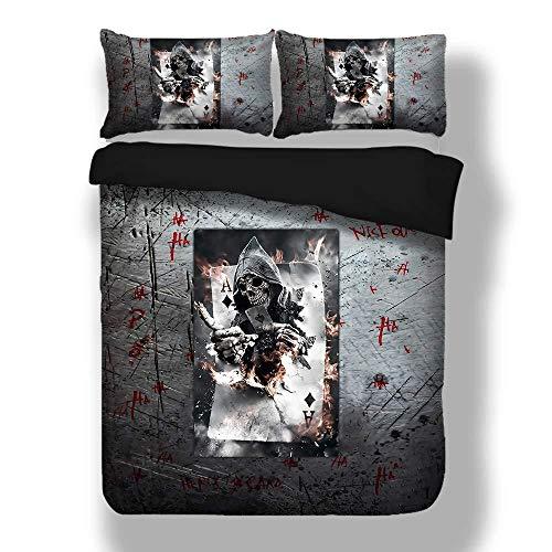 Bettwäsche-Sets Bettbezug-Set 3-teilig, Polyester-Mikrofaser 3d Poker Schlafzimmer-Bettbezug-Set