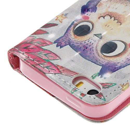 iPhone 5S Custodia Pelle, Cover per iPhone SE Portafoglio, Ekakashop Diamante Strass Glitter Sparkle Blingbling Fashion Colorata 3D Painted Ragazza Fantasia Lusso Libro Wallet PU Leather Morbido Silic Gufo Viola