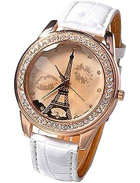 Damen Mädchen champagnerfarben Dial Lovers Lippen Eiffelturm Armbanduhr Weiß