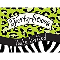 Age 40/40th Birthday forty-licious lime Green Leopard Print gatefold Invitations