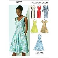 Vogue Patterns V8997 A5 - Patrones de costura para vestidos (tallas 6-14)