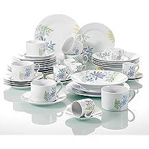 Malacasa, 42 piezas Servicio de cena de porcelana Juego de vajilla, cada uno con 6 tazas de café y platillos, taza y plato de café expreso, platos de postre, plato de comida, plato de sopa