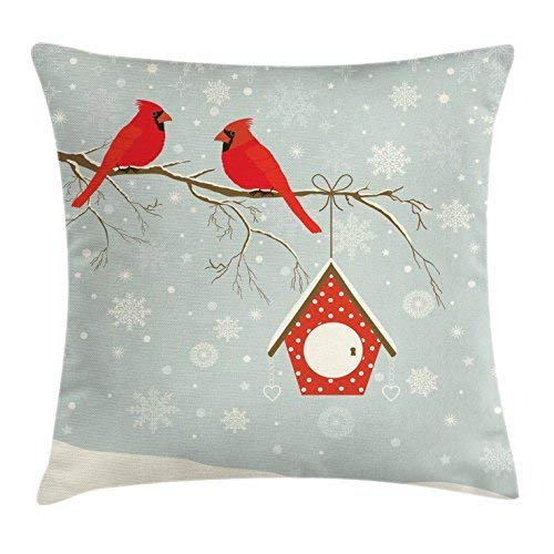 Cardinal Throw Pillow Cushion Cover, Birdhouse and Red Cardinals on a Tree Branch on a Snowy Night, Decorative Square Accent Pillow Case, 18 X 18 Inches, Vermilion Pale Sage Green Cream - Sage Green Coffee