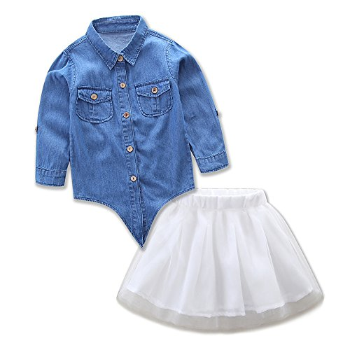 (Kinderkleid Honestyi Mama und Ich Kinder Mädchen Demin T Shirt Tops + Rock Kleid Familie Kleidung Outfits Set (Blau,90))