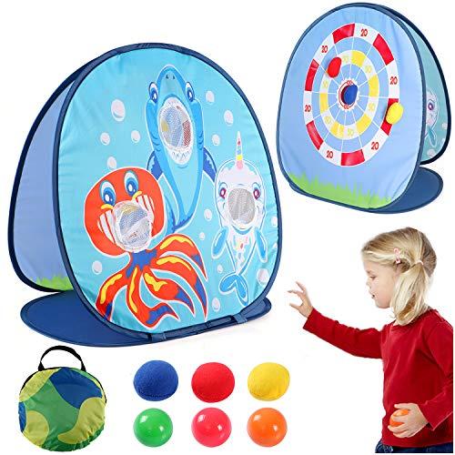 vamei 1 Stück Wurfspiel Kinder Spielzeug Dartscheibe Wurfscheibe Hai Spielzeug für Drinnen und Draußen Klettballspiel Beanbag Toss Zielscheibe