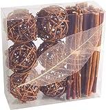 cama24com Tischdeko Dekobox mit Rattankugeln Stöcken und Blatt Natur Braun 13 Teile Palandi®