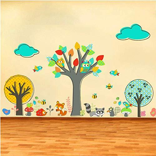 GHUJFDB Cartoon Wald Eule Eichhörnchen Fuchs Vögel Baum Wandaufkleber Für Kinderzimmer Dekor Kunst DIY Tiere Möbel Wandtattoos PVC Poster 80 * 132 cm - Metall-esszimmer-möbel Aus Stein